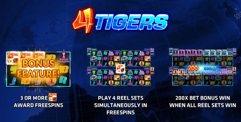 4 Tigers โบนัสสล็อตสี่ช่อง เล่นแล้ว Jackpot แตกได้เงินจริง 200 เท่า!!